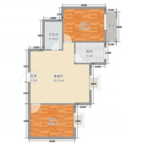 滨东花园二期2室2厅1卫1厨91.00㎡户型图
