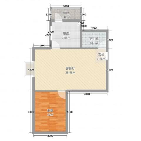 滨东花园二期1室2厅1卫1厨77.00㎡户型图