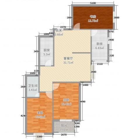 滨东花园二期3室2厅1卫2厨114.00㎡户型图