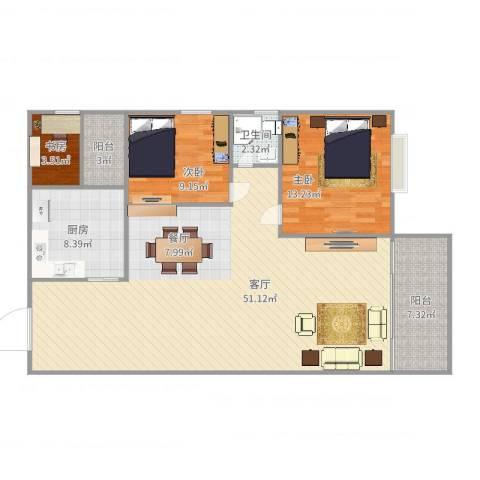 东城中心四期3室1厅1卫1厨123.00㎡户型图