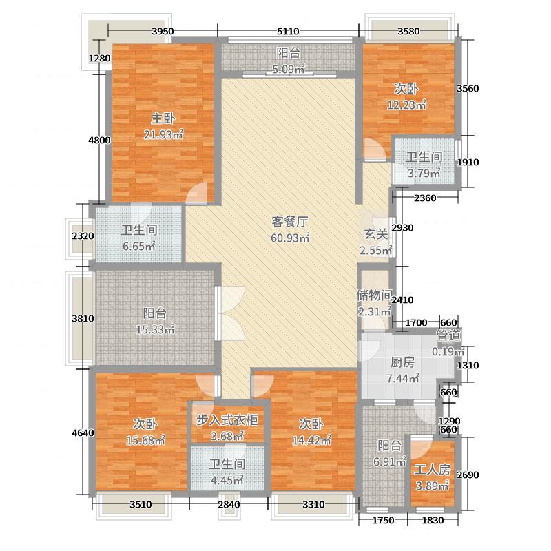 保利东湾・米墅226.00㎡3座双江豪景大宅2-33层01户型5室5厅3卫1厨
