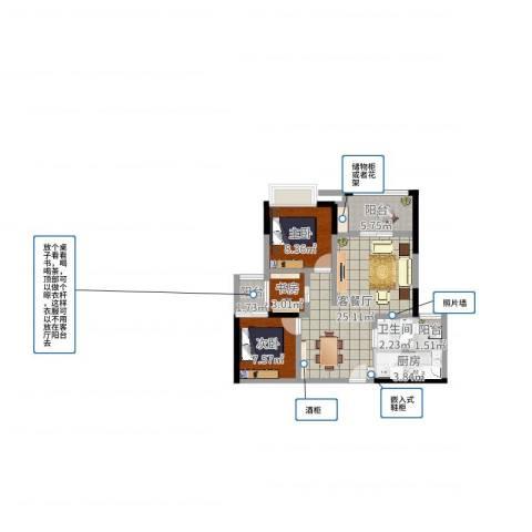 富洲新城户型72²3室2厅1卫1厨74.00㎡户型图