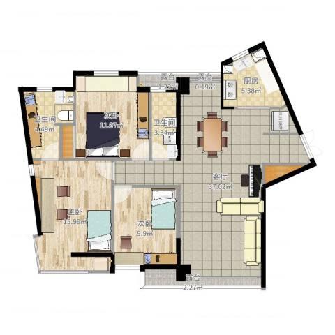 万象新天3室1厅2卫1厨118.00㎡户型图