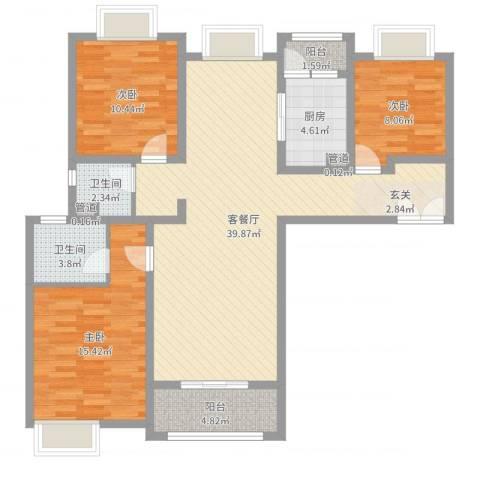 鼓楼上城3室2厅2卫1厨114.00㎡户型图