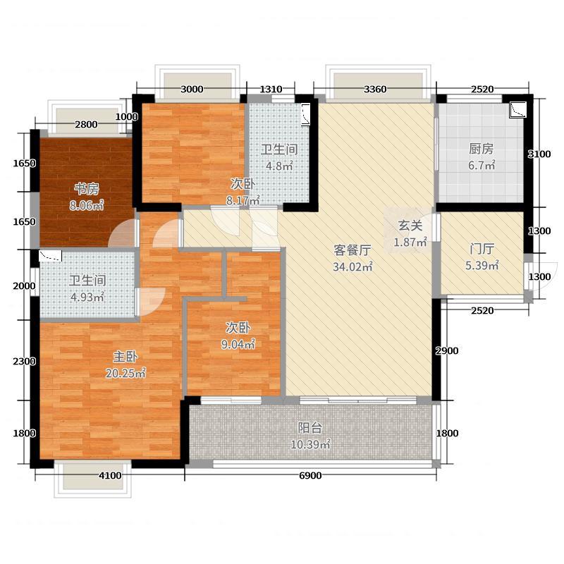 保利上城134.00㎡3期24栋01单元户型4室4厅2卫1厨
