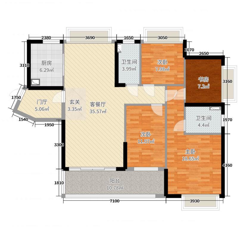 保利上城139.00㎡尊邸B户型4室4厅2卫1厨