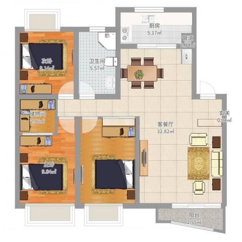 枫林湾2室2厅1卫1厨78.23㎡户型图