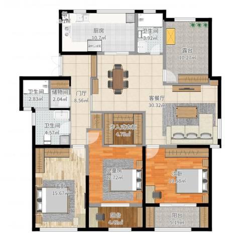 长宇棕榈湾3室2厅3卫1厨162.00㎡户型图