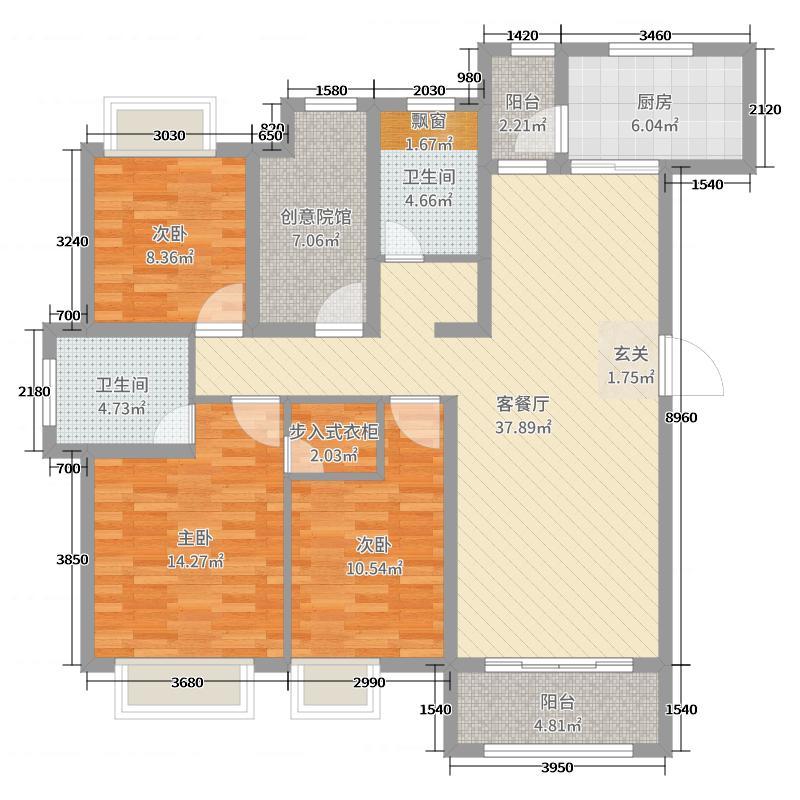 唐悦国际社区 COCO唐125.00㎡E户型4室4厅2卫1厨
