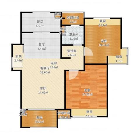 保利天琴宇2室2厅1卫1厨104.00㎡户型图