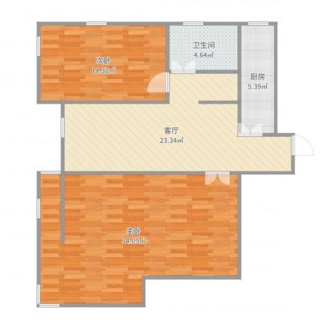 双港新家园之民盛园2室1厅1卫1厨102.00㎡户型图