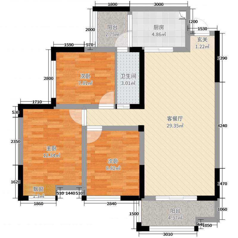 御�X春天92.02㎡19栋20栋C1标准层户型3室3厅1卫1厨