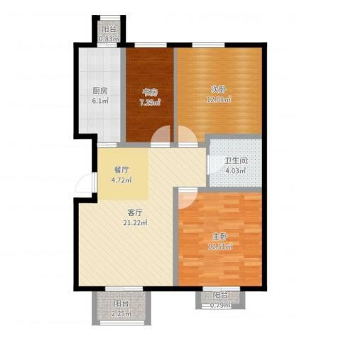 房信海景园3室1厅1卫1厨84.00㎡户型图