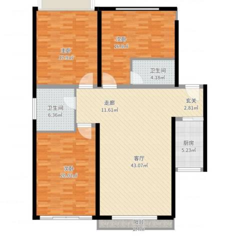 凯森福景雅苑3室1厅2卫1厨162.00㎡户型图