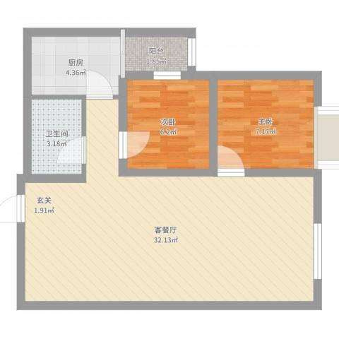 东晟阳光新城2室2厅1卫1厨69.00㎡户型图