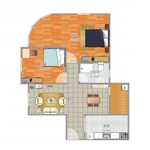 东方之珠花园e栋07户型图2室1厅1卫1厨86.98㎡户型图