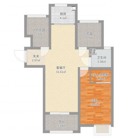 海亮悦府1室2厅1卫1厨91.00㎡户型图