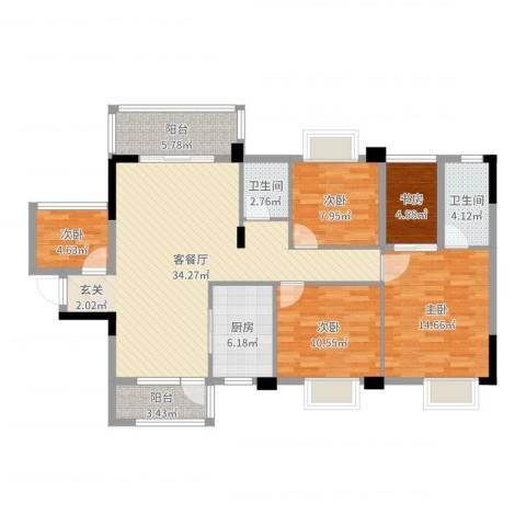 祥和新城5室2厅2卫1厨98.91㎡户型图