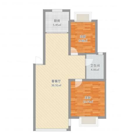 御都花园2室2厅1卫1厨87.00㎡户型图