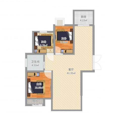 荣昌绿园3室1厅1卫1厨97.00㎡户型图