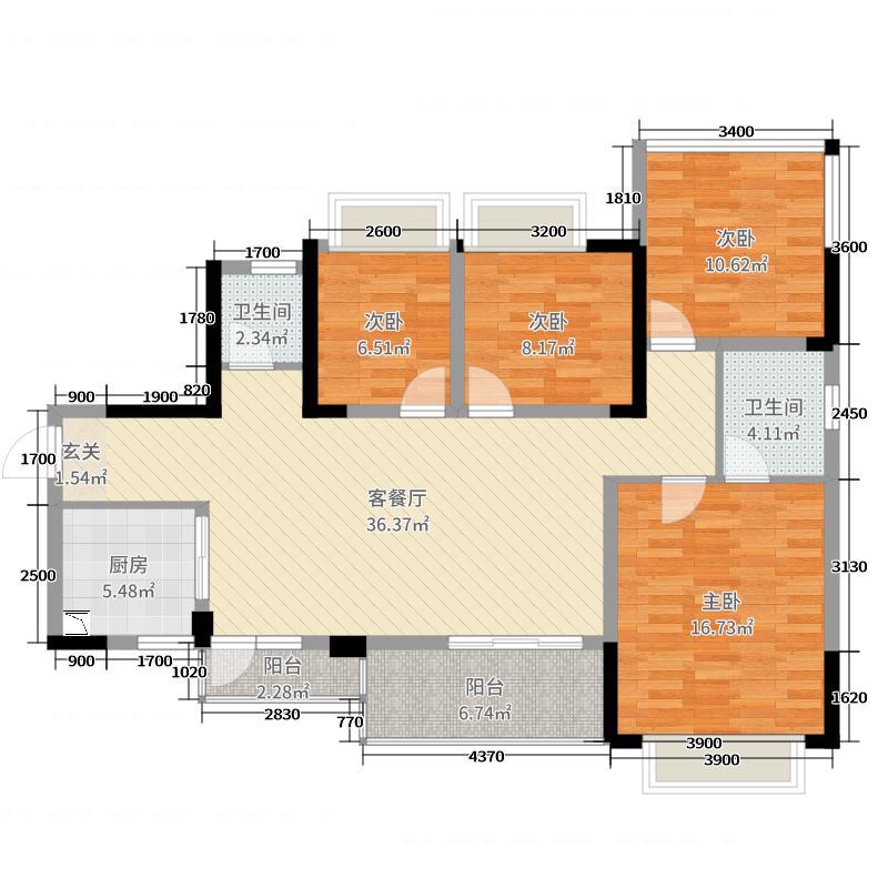北京城建龙樾熙城120.00㎡1期2、3、5、6、11栋标准层B3C3户型4室4厅2卫1厨