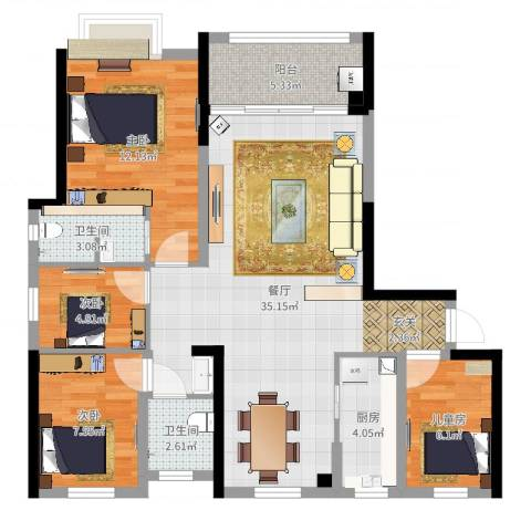 海亮悦府4室1厅2卫1厨101.00㎡户型图