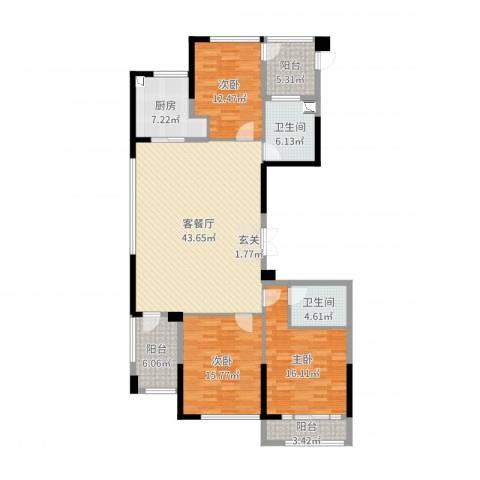 绿城玫瑰园3室2厅2卫1厨151.00㎡户型图