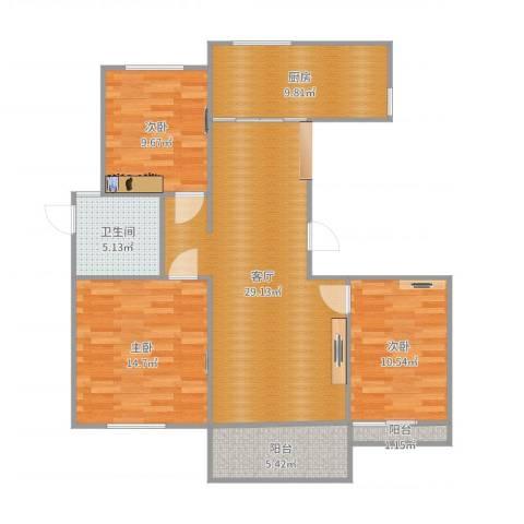 皇都佳苑3室1厅1卫1厨107.00㎡户型图