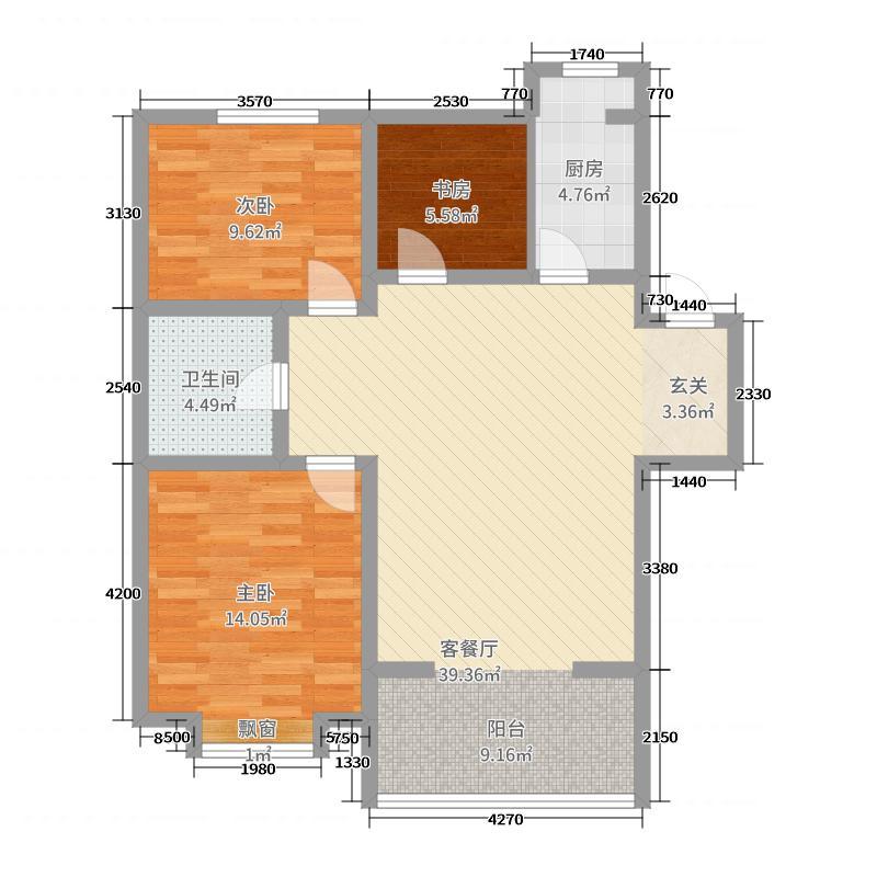 美地庄园110.00㎡苹果洋房户型3室3厅1卫1厨