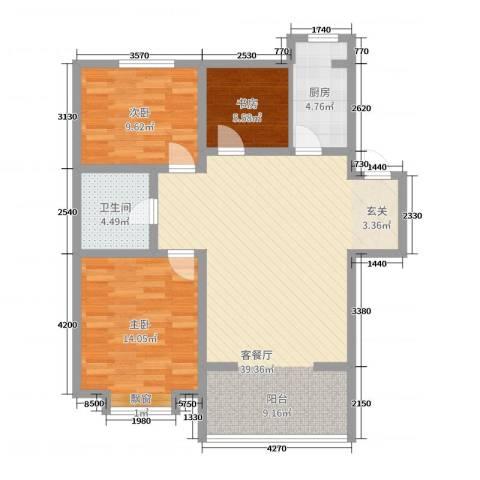 美地庄园3室2厅1卫1厨110.00㎡户型图