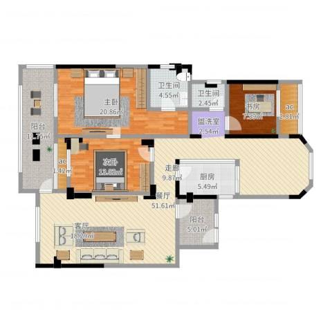 城置金色年华3室1厅2卫1厨158.00㎡户型图