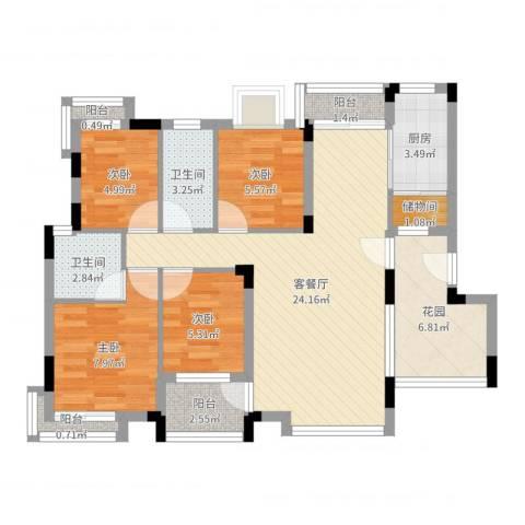 锦绣花园(龙华)4室2厅2卫1厨88.00㎡户型图