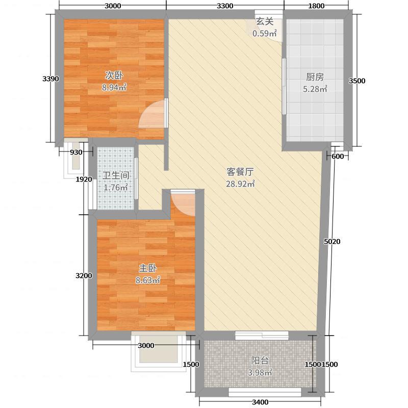德馨雅轩77.00㎡02/04/07/09户型2室2厅1卫1厨