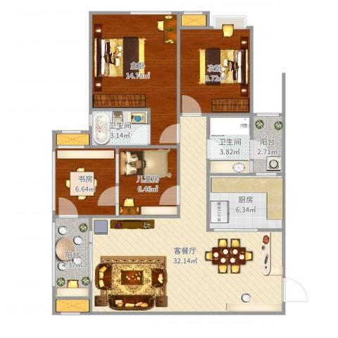 名门山庄4室2厅2卫1厨115.00㎡户型图