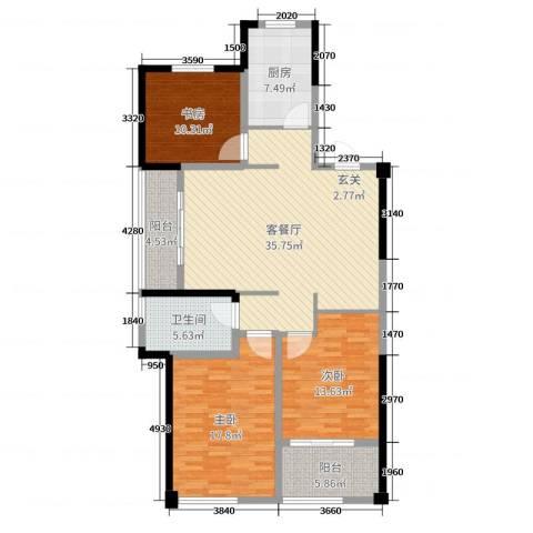 青枫国际3室2厅1卫1厨126.00㎡户型图