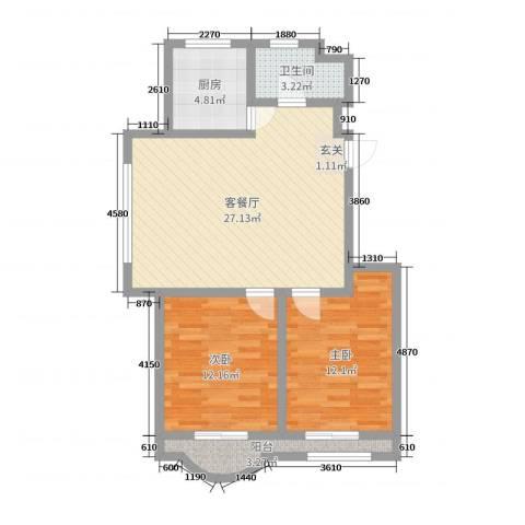 美地庄园2室2厅1卫1厨78.00㎡户型图