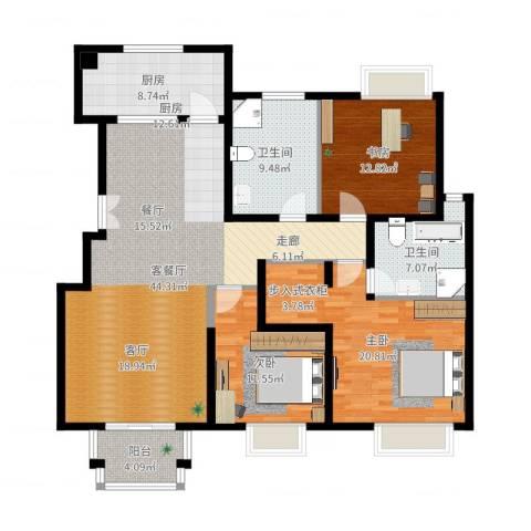 2U・香花畦3室2厅2卫1厨149.00㎡户型图