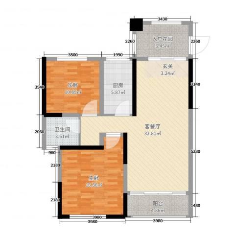 香格里拉花园2室2厅1卫1厨101.00㎡户型图
