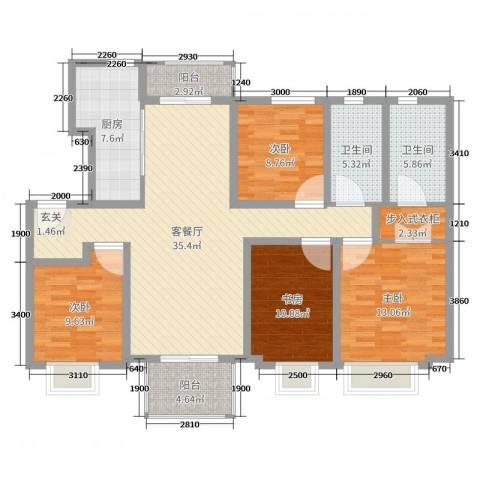 海亮・院里4室2厅2卫1厨105.60㎡户型图