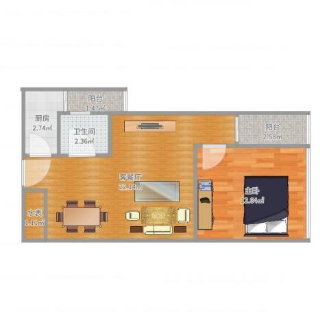 金领家族1室2厅1卫1厨53.00㎡户型图