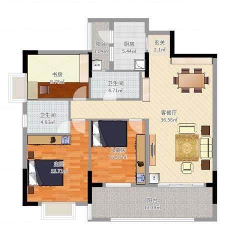 恒达花园二期3室2厅2卫1厨132.00㎡户型图