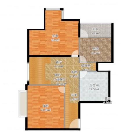 兴豪门2室2厅1卫1厨160.00㎡户型图
