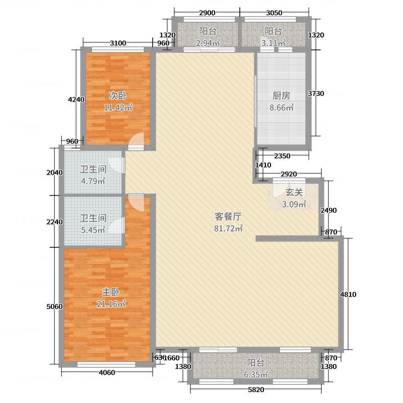 新世界花园182.00㎡平层B四居户型4室4厅2卫1厨