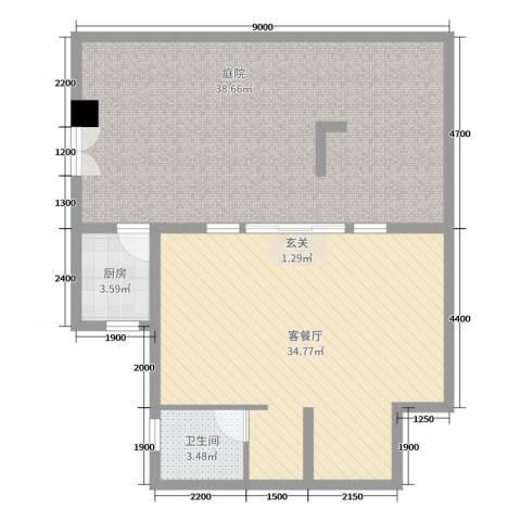 中铁国际旅游度假区2厅1卫1厨80.49㎡户型图