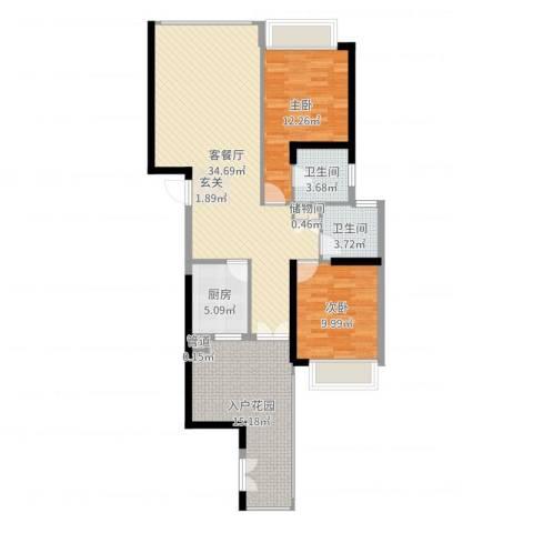 国际邮轮城一期2室2厅2卫1厨107.00㎡户型图