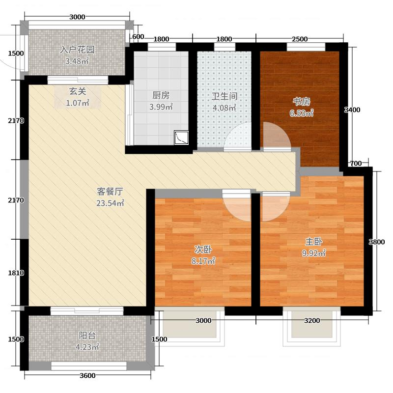 龙湖曲江畔93.00㎡22#楼F户型3室3厅1卫1厨