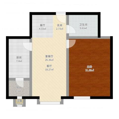 枫桦豪景(尾盘)1室2厅1卫1厨80.00㎡户型图