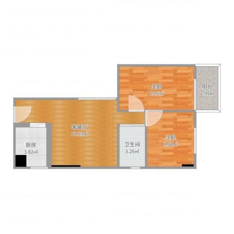 华侨乐园2室2厅1卫1厨57.00㎡户型图