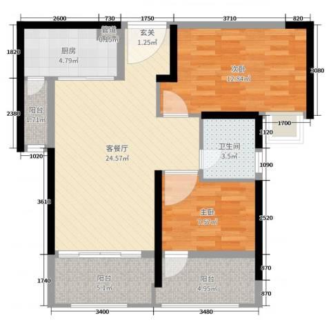 海伦印象2室2厅1卫1厨82.00㎡户型图