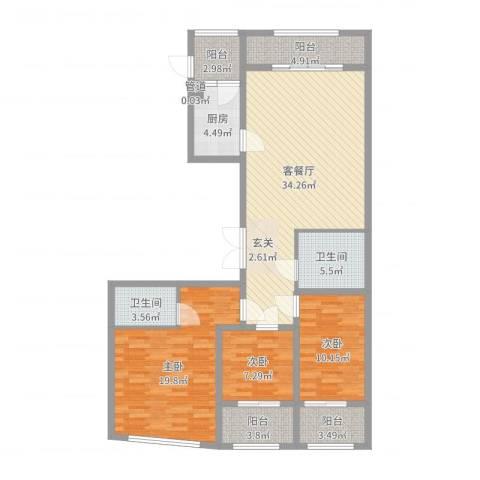 丽水阳光世纪城3室2厅2卫1厨125.00㎡户型图
